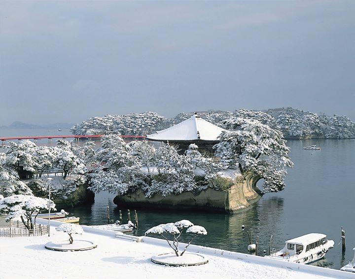 冬天来北东北就是要赏雪景,仙台的松岛是日本三景之一,260个岛屿上